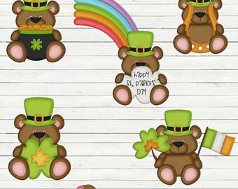 Irish Bears St. Patricks Day Clipart, Irish Clipart, Bear Clipart, Instant Download!