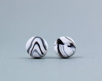 Marble Earrings, Black and White Marbled Earrings, Marble Studs, Black and White Earrings, Monochrome Earrings, Minimalist Earrings