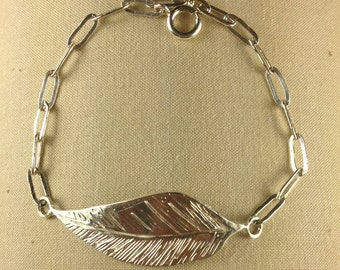 Hand crafted sterling silver leaf bracelet