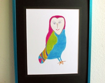colorful owl drawing etsy. Black Bedroom Furniture Sets. Home Design Ideas