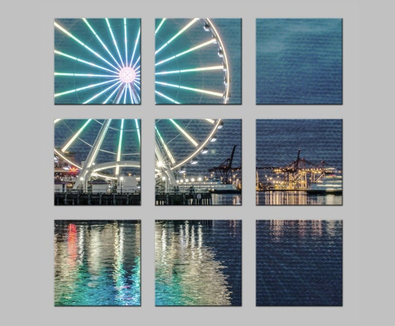 Seattle Waterfront Ferris Wheel. Metal Prints. Pacific Northwest. Emerald City. FREE SHIPPING. Photography by OneFrameStories.