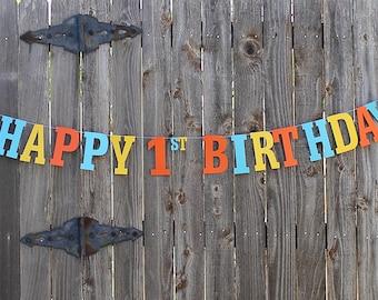 Boy Birthday Banner, Happy Birthday Banner, Blue Birthday Banner, Birthday Decoration, Party Banner, Custom Banner, Orange Birthday Sign