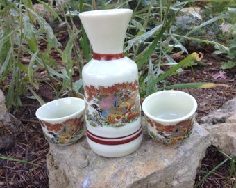 Vintage OMC Japan Saki Set Painted Birds Signed and Tags