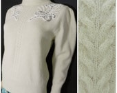 70s ANGORA WOOL cream funnel neck beaded embroidered glamorous jumper sweater u.k. 12 m
