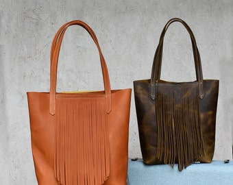 Annie Tote - Leather Fringe Tote bag - Leather bag - Handmade leather bag