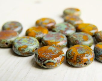 Autumn Days - 10mm smooth glass rustic umber orange table-cut lentil beads with Picasso finish (5), czech glass beads, uk beads