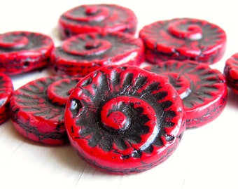 Crimson Fossils - 14mm deep red fossil beads with black Picasso finish (4), czech glass beads, uk, red nautilus beads