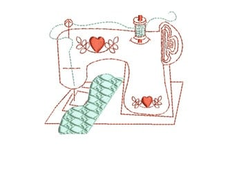 embroidery design sewing machine redwork, line drawing