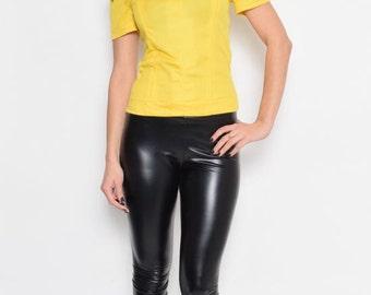 Vintage 70's Yellow Short Sleeve Top