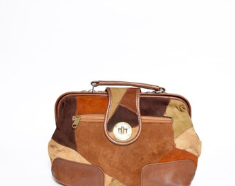 Vintage 90's Patchwork Brown and Rust Suede Purse Handbag