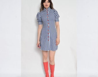 Vintage 70's Striped Buttoned Dress / Red Button Mini Dress