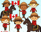 Canada Mounties Clipart - Color Clip Art and Blackline Digital Stamps