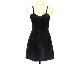 Black Suede Mini Dress - 80s Bodycon Rock Leather Mini - Fitted Black Leather Mini Dress - Soft Chamois Little Black Dress - Sundress