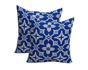 SET OF 2 - Indoor / Outdoor Richloom Aspidoras Cobalt - Royal Blue / White Geometric Sunburst Square Decorative Throw Pillows - Choose Size