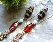 asian earring,dragon  earring ,zen earring, chinese earring,  antique silver  earring, boho chic earring, yoga  earring, ethnic