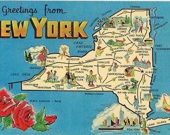 New York State Map Vintage Chrome Postcard Empire State (unused)