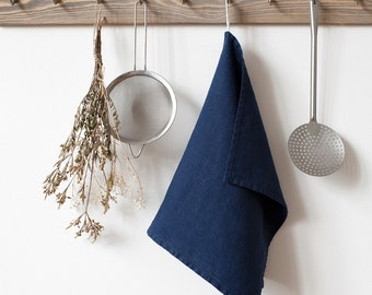 Navy Stone Washed Linen Tea Towel