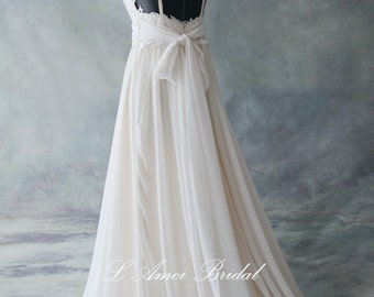 Romantic Backless Light Champagne Boho Lace Wedding Dress Great for  Beach Wedding- AM 7040020