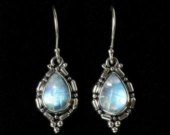 Silver Rainbow Moonstone Earrings: OLIVIA