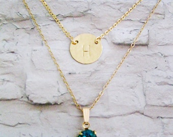 Double necklace, Layered Necklace, Initial necklaces, Blue zircon necklace, Birthstone necklace, Gold filled necklace, December birthday,