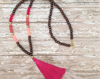 pink tassel wooden beaded necklace