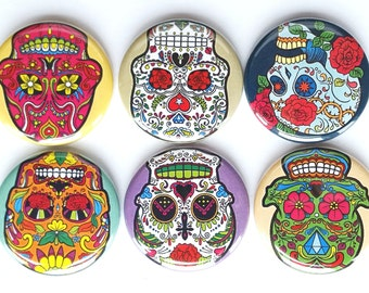 Day of the Dead Magnets, Sugar Skulls Magnets, Refrigerator Magnets, Mexican Holiday Fiesta Magnet, Dia de los Muertos Magnets, Set of 6
