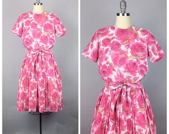 50s Hot Pink Rose Print Day Dress - 1950s Vintage Floral Print Dress with Pleated Skirt - Medium - Size 6 / 8