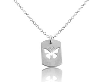 Butterfly Flying Insect Bug Symbol of Transformation Dog Tag Charm Pendant Necklace #925 Sterling Silver #Azaggi N0702S
