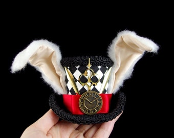 White Rabbit - Black, White, and Red Harlequin Rabbit Eared Small Mini Top Hat Fascinator, Alice in Wonderland, Mad Hatter Tea Party, Derby