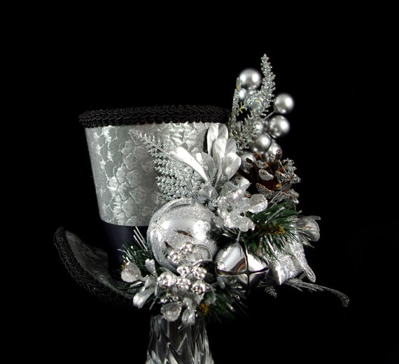 Silver and Black Holiday Present Forest Large Mini Top Hat Fascinator, Alice in Wonderland, Mad Hatter Tea Party, Christmas Hat, Derby Hat
