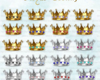 Royal Crowns w/ Gems | Gold Silver | Clipart Digital Instant Download