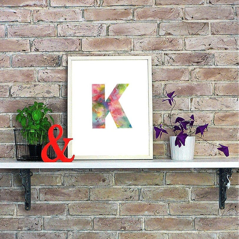 Wall Decor Letter K : Letter k print personalized gift kids wall decor initial