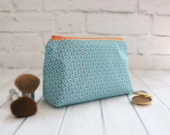 Cosmetic Bag, Toiletry Bag, Makeup Pouch, Zippered Pouch - Turquoise Cosmetic Bag with Orange Lining