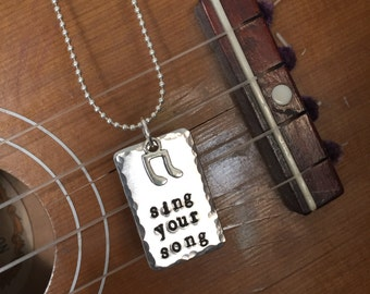 "sing your song - stamped necklace - music note necklace - songbird - music lover - 24"" - Love Squared designs"