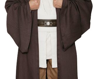 Star Wars Obi-Wan Kenobi Jedi Replica Costume Body Tunic with Replica Dark Brown Jedi Robe
