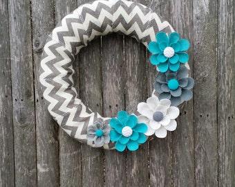 Year Round Wreath, Spring Wreath, Summer Wreath, Burlap Wreath, Turquoise Wreath, Home Decor, Front Door Wreath