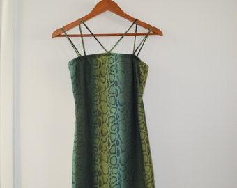 Green Snakeskin Spaghetti Strap Halter Tank Bodycon 90s Tight Fitting Hugging Mini Dress Small