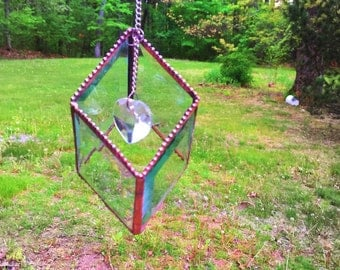 SUNCATCHER-ORNAMENT - Stained Glass 3D Clear Diamond with Crystal Prism Heart