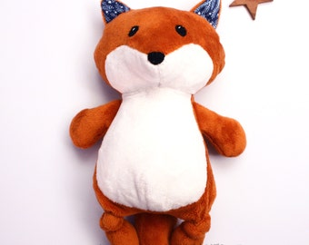 Fox soft toy, woodland nursery toy, woodland soft toy, stuffed fox, forest animal, kids soft toy, baby gift, baby shower gift, toy for boys