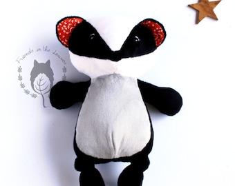 Badger, softie, soft toy, woodland themed bedroom,woodland animal,plush stuffed toy,CE certified toy, wildlife, children's birth unisex gift