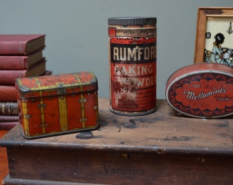Red Tins Rustic Farmhouse Decor Collection of 3 Red Tins Shabby Chic Cottage Chic French Country