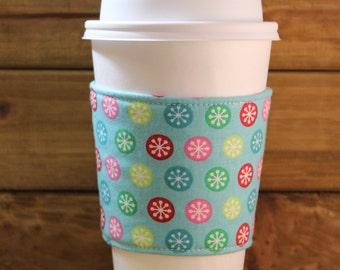Fabric Coffee Cozy / Polka Dots Coffee Cozy / Star Coffee Cozy / Coffee Cozy / Tea Cozy