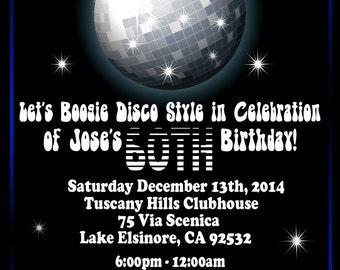 Disco Party Invitation- DIY Custom Disco Boogie Printable Invite