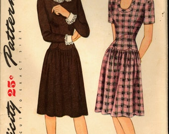 1940s Size 14 Bust 32 WWII Scalloped Dropped Waist Dress Simplicity 1253 Vintage Sewing Pattern 40s