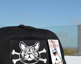 Cat Crossbones Snapback Cap. Snapback Hat in Khaki Black Or Blue
