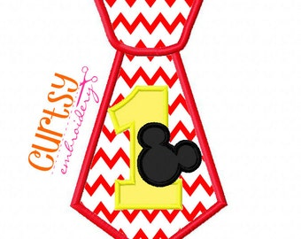 Mickey Birthday Embroidery Design, Mouse Birthday Embroidery Design, First Birthday Applique Design, Tie Embroidery Design