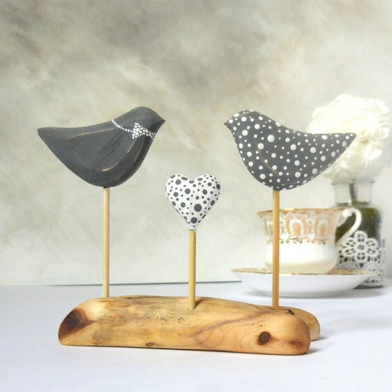 Love Bird Wedding Cake Topper, Grey/ White Polka Dot Wedding,  Bird Cake Topper/  Wood Keepsake