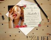 Rose beauté et la bête inspiré princesse Belle Photo d'anniversaire Invitation imprimable bricolage no. I189