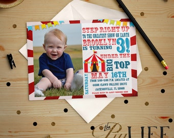 Tumble and Fly Under The Big Top Circus Photo Birthday Invitation Printable DIY No. I53