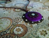 Purple Bezel & Rhinestone Necklace. Suede Cord.